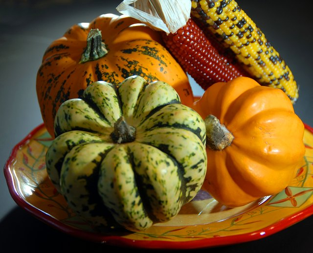halloween gords and indian corn