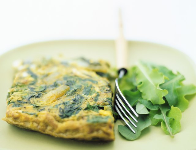 Spinach Omelet and lettuce on a Plate, Fork in Between