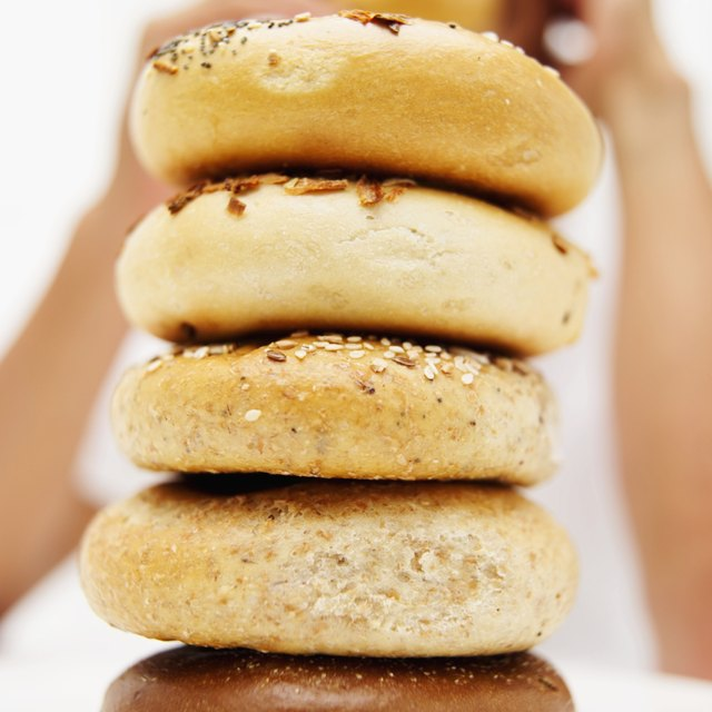 Close-up of a stack of bagels