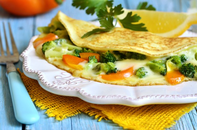 Omelet stuffed with broccoli,cheese and sweet pepper.