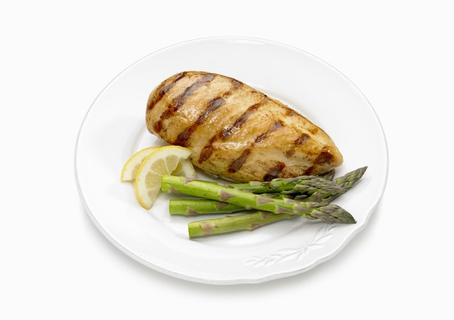 Grilled chicken with asparagus