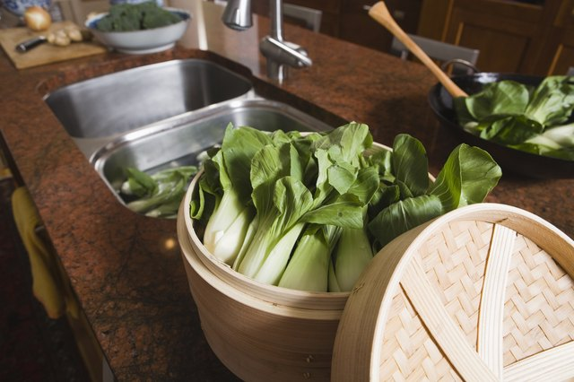 Bok choy in the kitchen