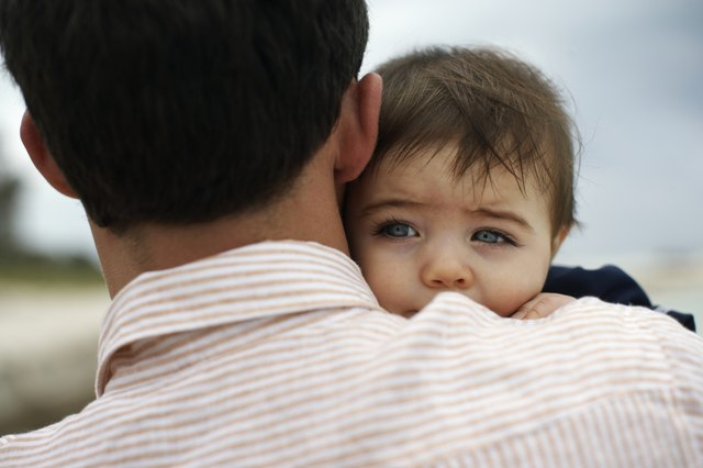 Father carrying baby daughter (15-18 months) outdoors, close-up