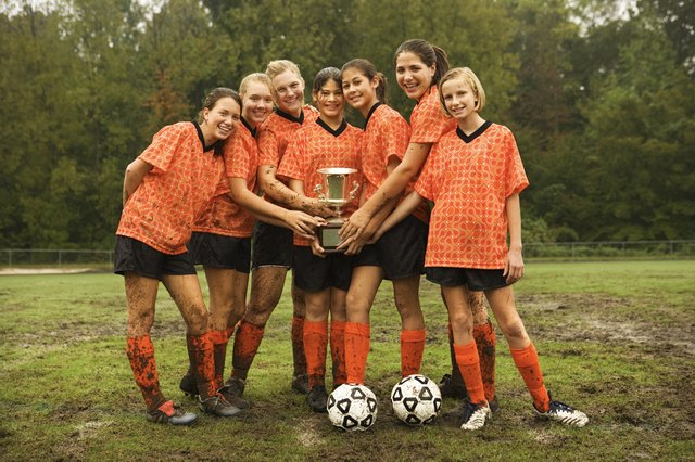 Soccer team with trophy