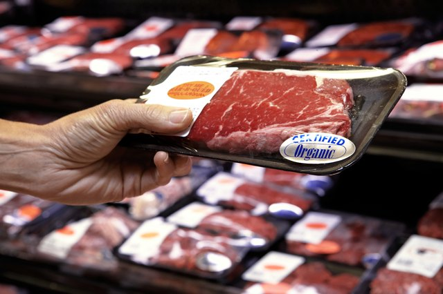 Woman holding packet of beef in supermarket