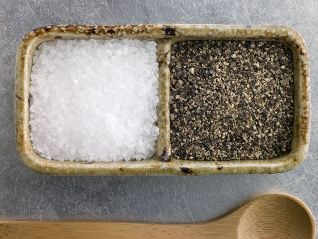 Sea Salt Crystals and Course Cracked Black Pepper