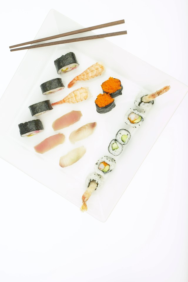 High angle view of various types of sushi rolls