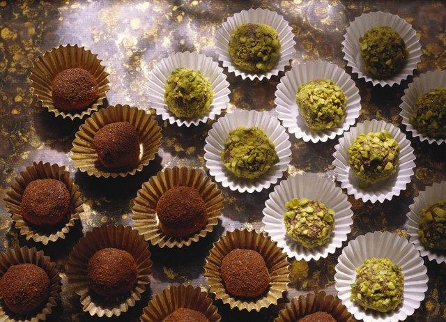 Pistachio and mocha truffles