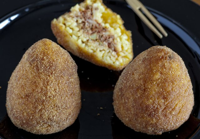 "typical italian food: sicilian food called ""arancini"""