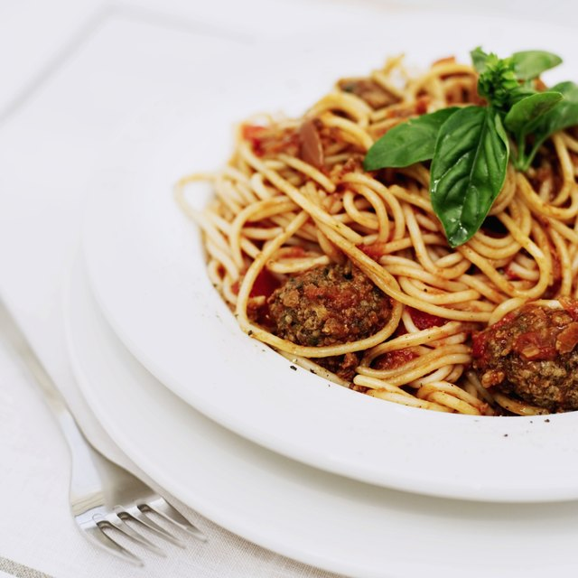 spaghetti and meatballs in a bowl