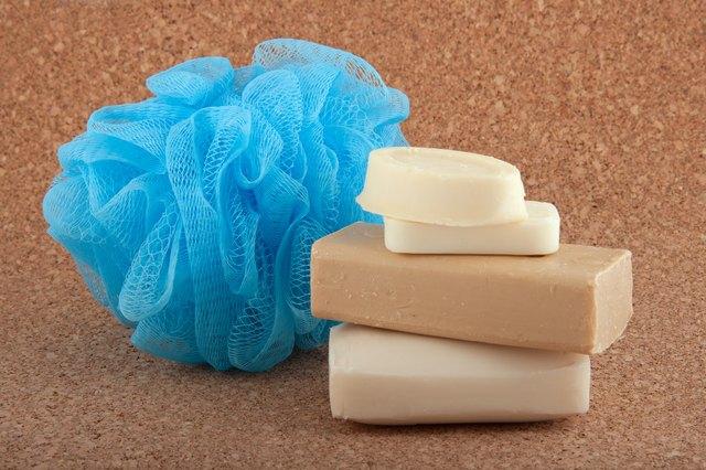 Soap bars and a bath sponge