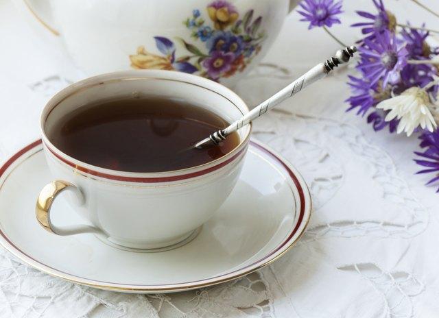 black tea at antique cup