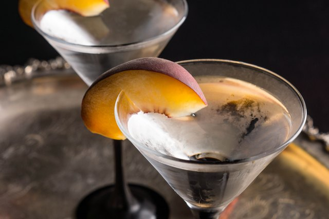 Vodka and martini with fresh peaches