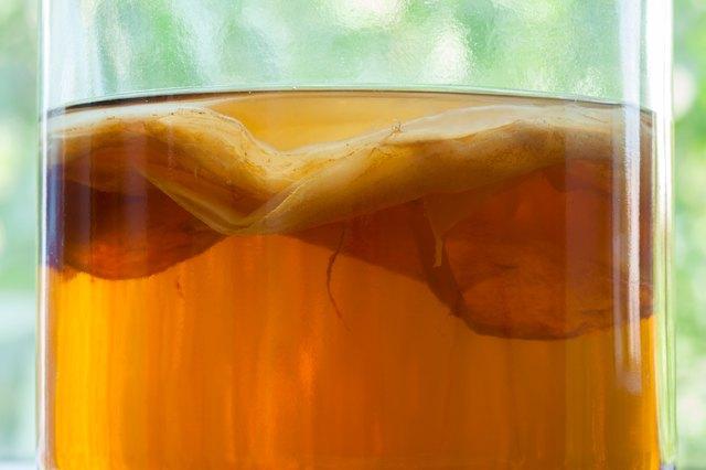 Natural kombucha fermented tea beverage healthy organic drink in vintage