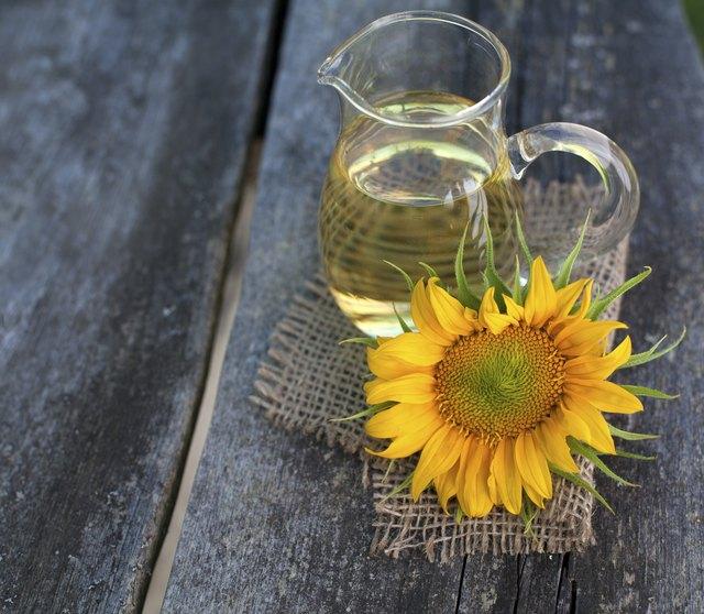 sunflower oil on wooden table