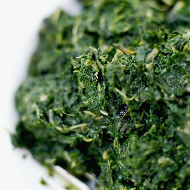 Close-up of a bowl of chopped spinach