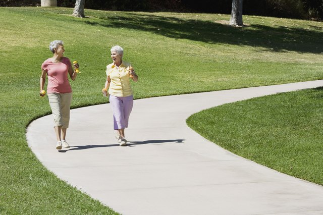 Senior women walking