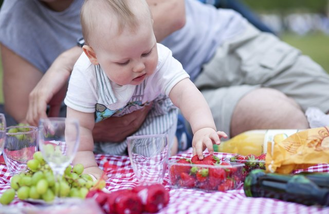 Adorable little boy on his first picnic