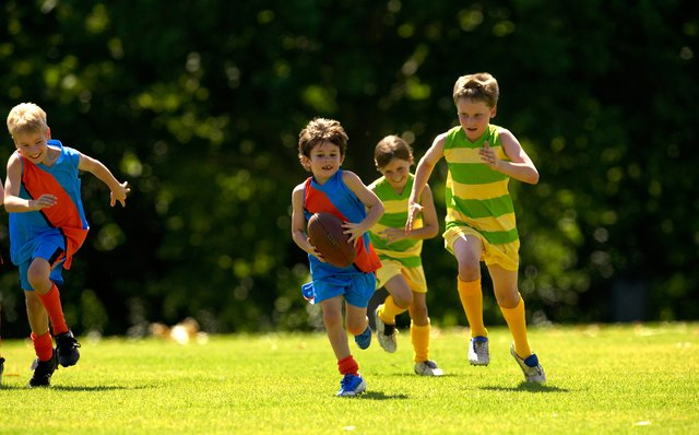 Young player running from his opposition