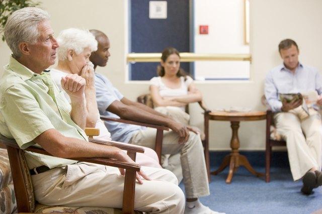 Five people in waiting room
