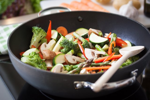 Wok stir fry vegetables with zucchini, spring asparagus, paprika