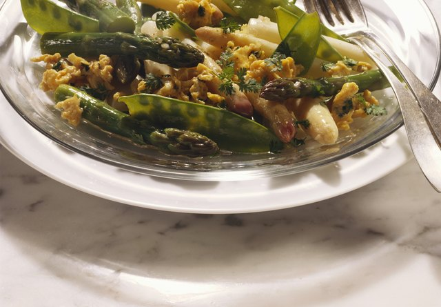 Asparagus Salad with Scrambled Egg and Sugar Peas