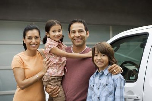 Family standing outside house next to car