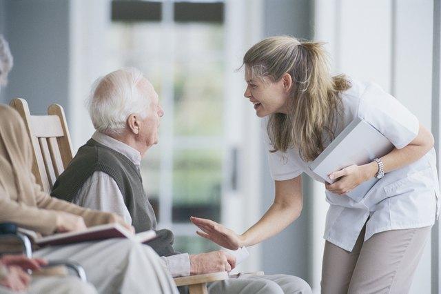 Nurse with man on porch