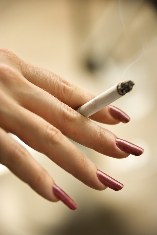 Hand of woman holding cigarette