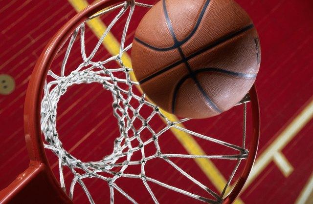 High angle view of basketball goal and ball