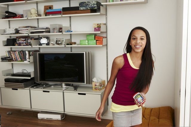Teen girl in home entertainment room