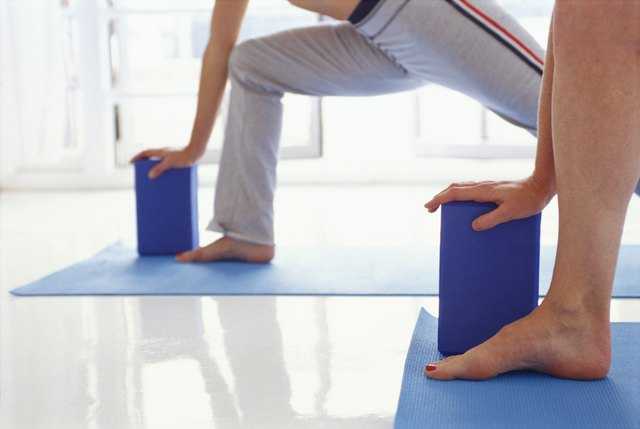 Women in lunge yoga position