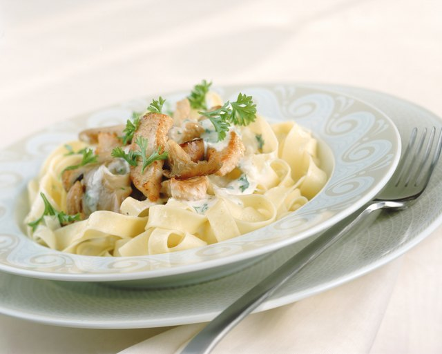 Tagliatelle on plate with fork