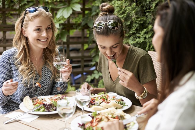 Girls eating together at a restaurant