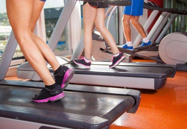 gym shot - people running on machines, treadmill