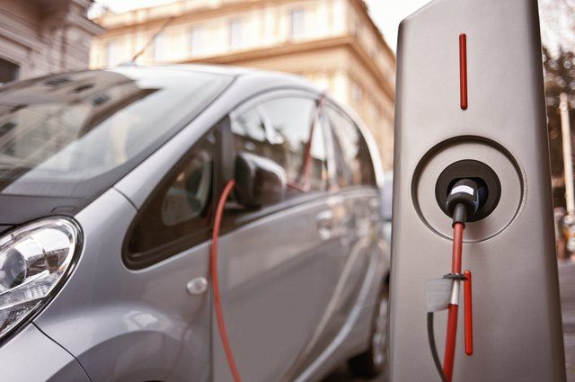Electric car in charging