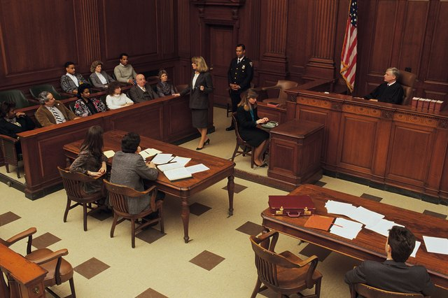 High angle view of courtroom