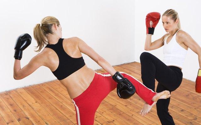 Kickboxers sparring