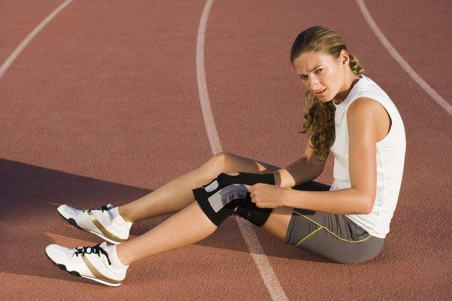 Woman with knee brace