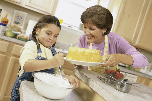 Mother and daughter baking a cake together