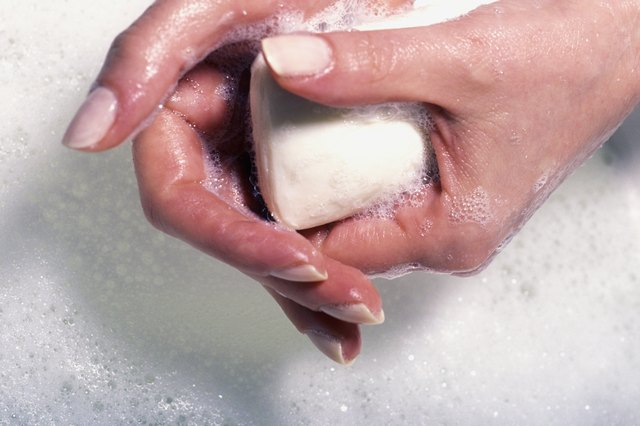 caucasian hands with soap