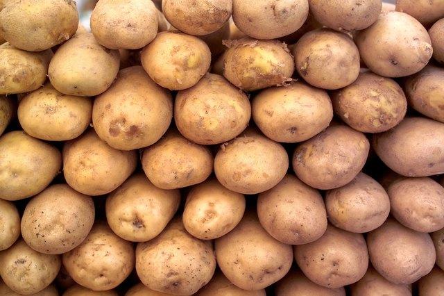 Close-up of a heap of potatoes