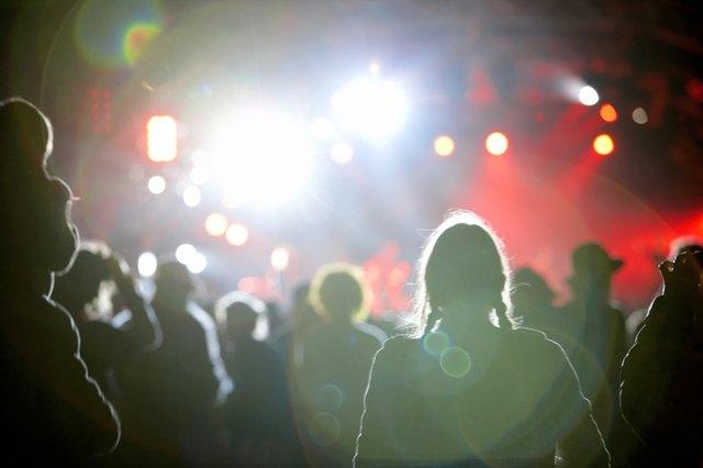"""Partygoers at nightclub, rear view"""