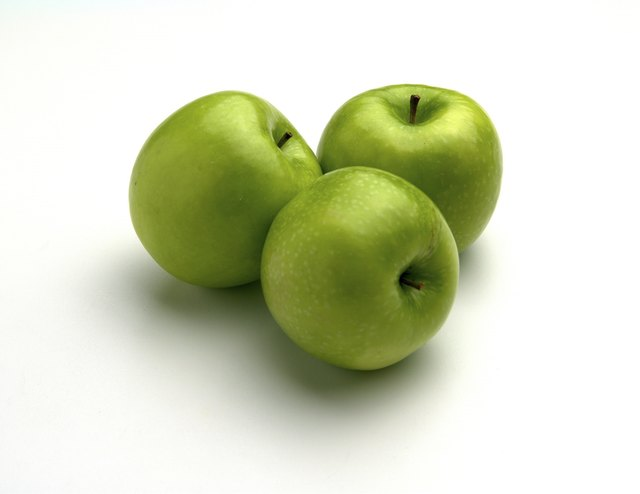 Fresh ripe green apples