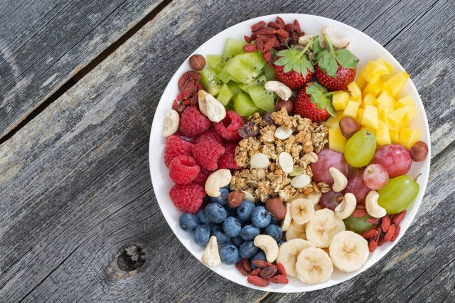 Mixed fruit, nuts and granola in a white bowl on wood table