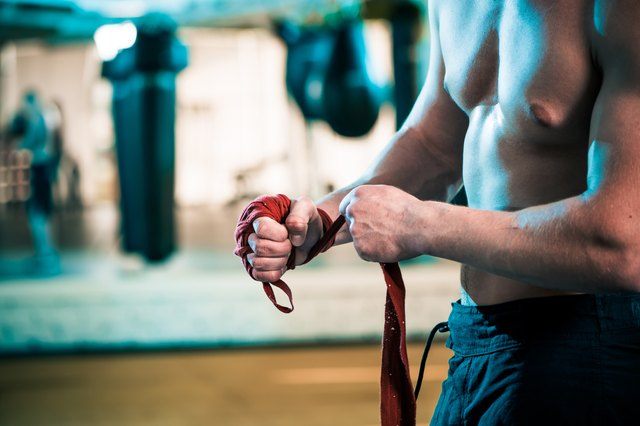 trained sportive man hands
