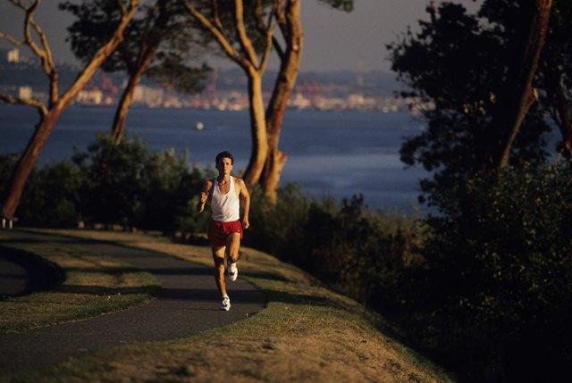 Man running in park, Seattle, Washington, USA