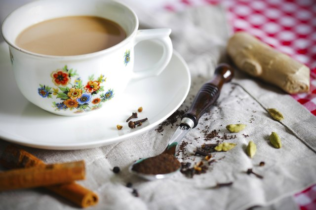 Masala chai or Indian tea with spices