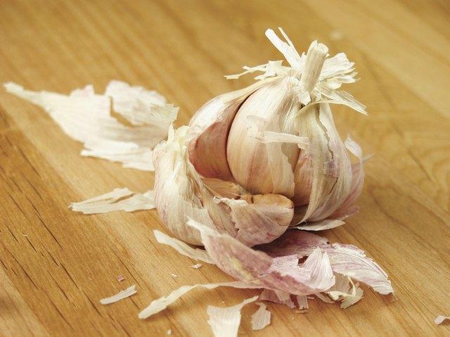 A broken pod of garlic