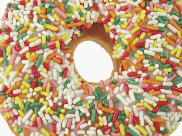 A donut with candy sprinkles